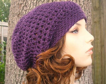 Crochet Hat Womens Hat Slouchy Beanie - Weekender Slouchy Hat in Plum Purple Hat Purple Beanie Womens Accessories - READY TO SHIP