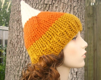 Candy Corn Hat Womens Hat - Gnome Hat Dark Candy Corn White Orange Yellow Knit Hat - Womens Accessories Winter Hat