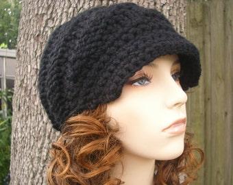 Knit Hat Womens Hat Black Newsboy Hat - Swirl Beanie with Brim Black Knit Hat - Black Hat Black Beanie Womens Accessories
