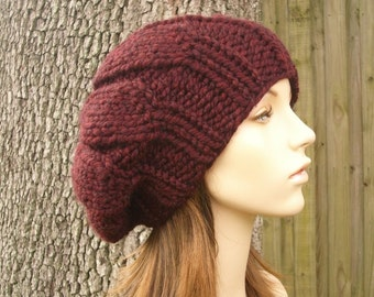 Knit Hat Red Womens Hat Slouchy Beanie - Urchin Beret in Oxblood Wine Red Knit Hat - Red Hat Red Beret Red Beanie Womens Accessories