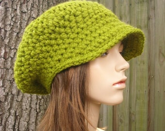 Lemongrass Green Newsboy Hat Womens Hat - Crochet Newsboy Hat Green Crochet Hat - Green Hat Green Beanie Womens Accessories