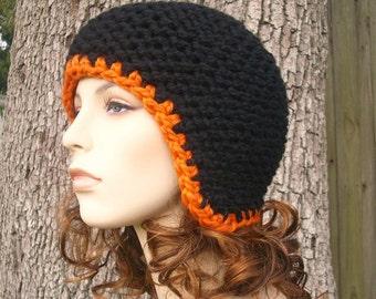 Black Womens Hat Black Ear Flap Hat - Garter Helmet Black Knit Hat Black Hat Chunky Knit Hat Womens Accessories Winter Hat - READY TO SHIP
