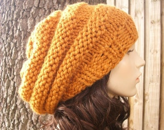 Oversized Apricot Orange Slouchy Beanie - Beehive Beret Womens Hat Orange Knit Hat Orange Hat Orange Beret Orange Beanie Womens Accessories