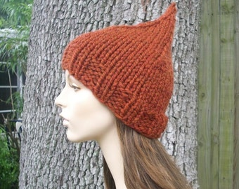 Knit Hat Womens Hat - Orange Gnome Hat in Rust Orange Knit Hat - Rust Hat Orange Hat Orange Beanie Rust Beanie Womens Accessories Winter Hat