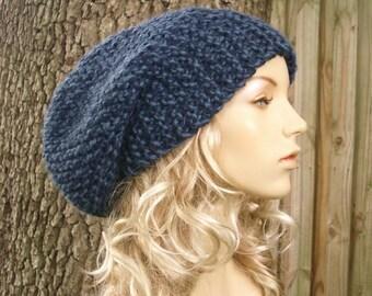 Blue Knit Hat Blue Womens Hat Blue Slouchy Hat Blue Slouchy Beanie - Blue Mens Hat Blue Hat Blue Beanie Womens Accessories Winter Hat