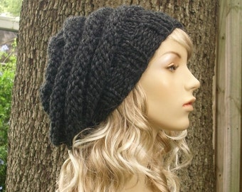 Grey Womens Hat - Oversized Beehive Beret Hat Charcoal Grey Knit Hat - Grey Hat Grey Beret Grey Beanie Chunky Knit Hat