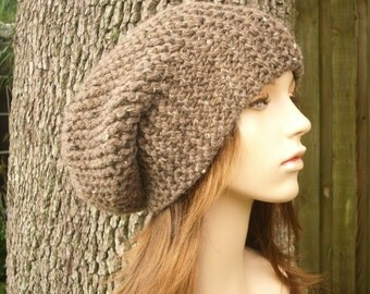 Knit Hat Womens Hat Oversized Slouchy Beanie - Slouchy Hat in Barley Brown Knit Hat - Brown Hat Womens Accessories Winter Hat