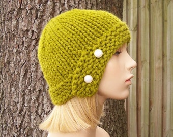 Knit Hat Womens Hat - Cloche Hat in Lemongrass Green Knit Hat - Green Hat Green Beanie Green Cloche Womens Accessories Winter Hat