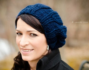 Navy Blue Womens Hat - Urchin Beret Hat Navy Blue Knit Hat - Blue Hat Blue Beanie Blue Beret Navy Hat Navy Beanie Womens Accessories