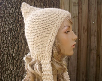 Knit Hat Cream Womens Hat - Cream Pixie Hat - Cream Knit Hat -  Cream Hat Womens Accessories Winter Hat