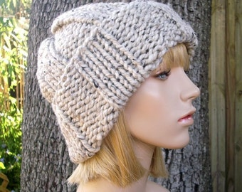 Knit Hat Womens Hat Mens Hat - Watchman Cap Beanie in Tweed Oatmeal Knit Hat - Oatmeal Hat Oatmeal Beanie Womens Accessories Winter Hat