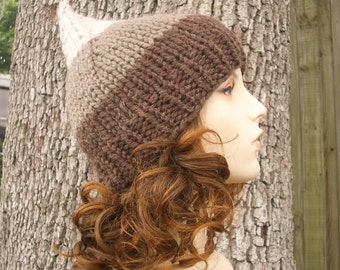 Brown Knit Hat Brown Womens Hat - Brown Gnome Hat Hot Fudge Lava - Brown Hat Brown Beanie Womens Accessories Winter Hat