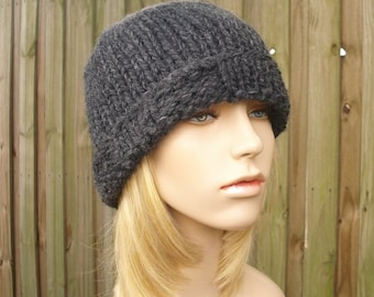 Knit Hat Grey Mens Hat Grey Womens Hat - Ribbed Brim Beanie in Charcoal Grey Knit Hat - Grey Hat Grey Beanie Womens Accessories Winter Hat