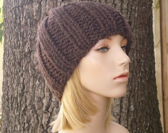 Knit Hat Womens Hat Mens Hat - Ribbed Beanie in Wood Brown Knit Hat - Brown Beanie Brown Hat Womens Accessories Winter Hat