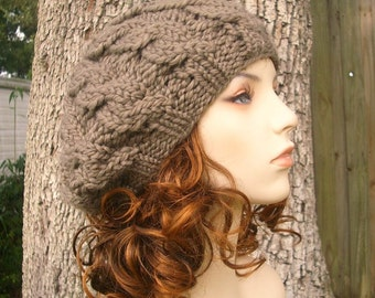 Knit Hat Womens Hat - Cable Beret Hat in Brown Taupe Knit Hat - Brown Hat Taupe Hat Brown Beret Taupe Beret Brown Beanie Womens Accessories