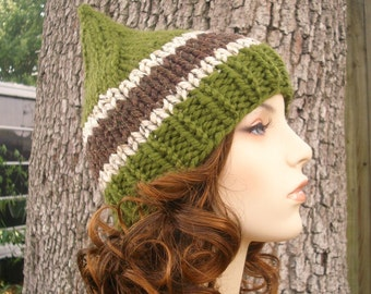 Knit Hat Womens Hat - Green Gnome Hat in Carolina Pines Knit Hat - Green Hat Green Beanie Green Gnome Beanie Womens Accessories Winter Hat