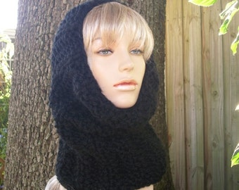 Knit Cowl Scarf - Twilight Cowl in Black - Black Cowl - Black Scarf - Womens Accessories