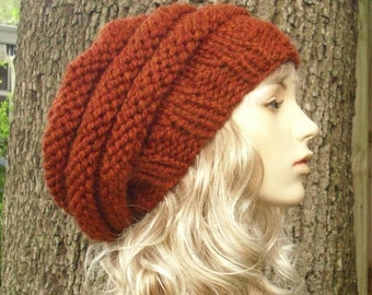 Knit Hat Womens Hat Slouchy Beanie - Oversized Beehive Beret Knit Hat in Rust Orange Knit Hat - Rust Hat Rust Beret Womens Accessories