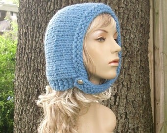Knit Hat Blue Womens Hat - Pixie In Training Aviator Cap in Sky Blue Knit Hat - Blue Hat Blue Bonnet Womens Accessories Winter Hat
