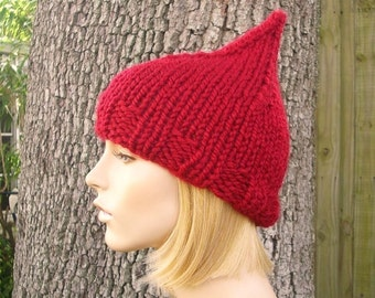 Knit Womens Hat - Cranberry Red Gnome Hat Fall Fashion Winter Accessories