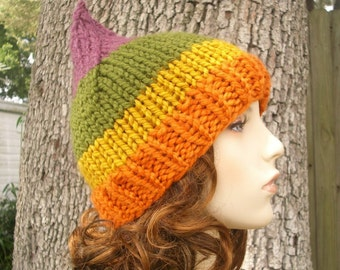 Rainbow Gnome Hat Autumn Sunrise Chunky Knit Hat Womens Hat - Orange Hat Orange Beanie Green Hat Green Beanie Womens Accessories Winter Hat