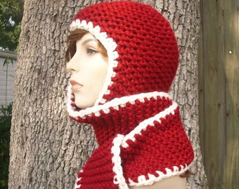 Knit Hat Womens Hat - Garter Nomad Scarf Hat in Cranberry Red and Cream Knit Hat - Red Scarf Red Hat Womens Accessories