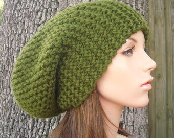 Mens Womens Knitted Oversized Olive Green Slouchy Beanie Hat - Womens Accessories Fall Fashion Winter Hat