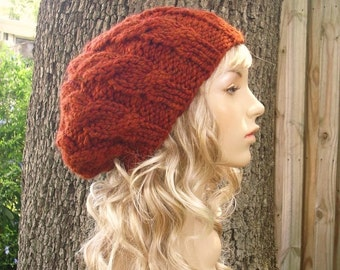 Knit Hat Orange Womens Hat - Cable Beret Hat in Rust Orange Knit Hat - Burnt Orange Hat Orange Beret Orange Beanie Womens Accessories