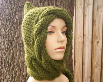 Knit Hat Womens Hat - Cable Scarf Hat in Olive Green - Green Hooded Scarf Knit Hat - Green Scarf Green Hat Green Hood Womens Accessories