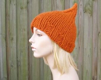 Knit Hat Womens Hat Orange Beanie Orange Hat - Orange Gnome Hat in Pumpkin Orange Knit Hat Womens Accessories Winter Hat - READY TO SHIP