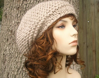 Knit Hat Womens Hat - Tribeca Beret in Cream Linen Knit Hat - Cream Hat Cream Beret Womens Accessories