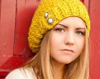 Citron Yellow Beret Chunky Knit Hat Womens Hat - Seed Beret - Yellow Hat Yellow Beanie Womens Accessories