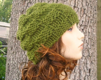 Knit Hat Womens Hat - Basket Weave Beanie in Olive Green Knit Hat Green Hat - Womens Accessories Winter Hat