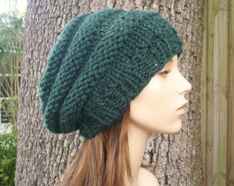 Knit Hat Womens Hat Slouchy Beanie - Original Beehive Beret in Pine Green Knit Hat - Green Hat Womens Accessories