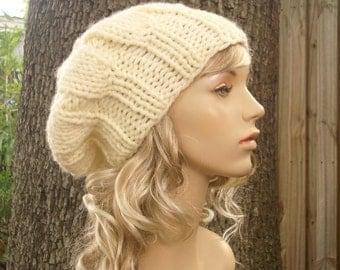Knit Hat Cream Womens Hat Slouchy Beanie - Urchin Beret in Cream Knit Hat - Cream Hat Cream Beret Cream Beanie Womens Accessories