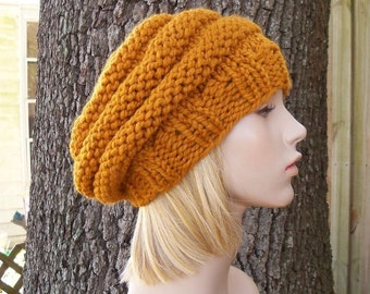 Knit Hat Womens Hat Slouchy Beanie - Original Beehive Beret Hat in Mustard Yellow Knit Hat - Yellow Hat Mustard Hat Womens Accessories