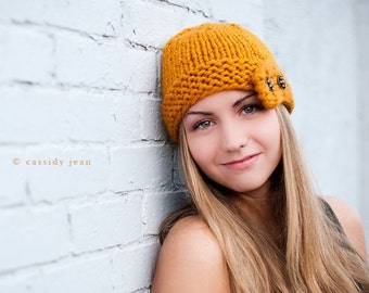 Knit Hat Womens Hat - Cloche Hat Mustard Yellow Knit Hat - Mustard Hat Yellow Hat Mustard Beanie Yellow Beanie Womens Accessories Winter Hat