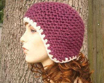 Purple Womens Hat Purple Ear Flap Hat - Garter Helmet Fig Purple Knit Hat Purple Hat Purple Beanie Womens Accessories