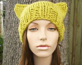 Knit Hat Womens Hat - Yellow Cat Beanie Hat Citron Yellow Knit Hat - Yellow Hat Yellow Beanie Yellow Cat Hat Womens Accessories Winter Hat