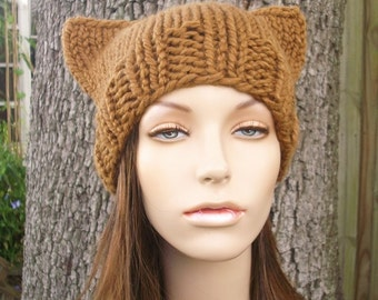 Knit Hat Womens Hat - Brown Cat Beanie Hat in Hazelnut Brown Knit Hat - Brown Hat Womens Accessories Winter Hat