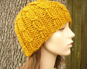 Knit Hat Mens Hat Womens Hat - Cable Beanie in Yellow Mustard Knit Hat - Mustard Hat Mustard Beanie Womens Accessories Winter Hat