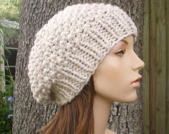 Knit Hat Womens Hat Slouchy Beanie - Seed Beret Hat in Wheat Cream Knit Hat - Wheat Hat Cream Hat Wheat Beret Cream Beret Womens Accessories