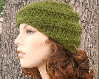 Green Mens Hat Green Womens Hat - Swirl Beanie Olive Green Knit Hat - Olive Green Hat Olive Green Beanie Womens Accessories Winter Hat