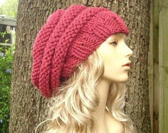 Pink Womens Hat Slouchy Beanie - Oversized Beehive Beret Hat Raspberry Pink Knit Hat - Pink Hat Pink Beret Pink Beanie Womens Accessories