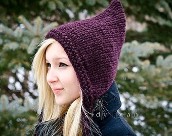 Knit Hat Purple Womens Hat - Purple Pixie Hat in Eggplant Purple Knit Hat - Purple Hat Womens Accessories Winter Hat