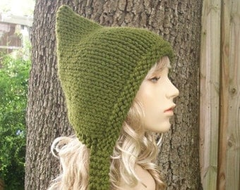 Knit Hat Womens Hat - Green Pixie Hat in Olive Green Knit Hat Green Hat Green Hood Womens Accessories Winter Hat