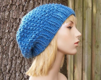 Knit Hat Blue Womens Hat Slouchy Beanie - Seed Beret Hat in Sky Blue Knit Hat - Blue Hat Blue Beanie Blue Beret Womens Accessories