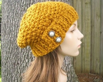 Knit Hat Womens Hat - Seed Beret Hat in Mustard Yellow Knit Hat - Mustard Hat Mustard Beret Mustard Beanie Womens Accessories