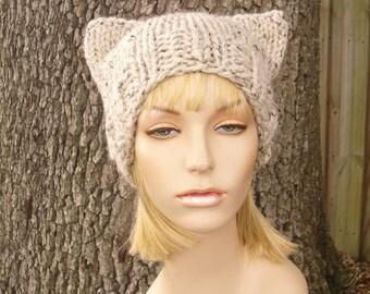Knit Hat Womens Hat - Oatmeal Cat Beanie Hat Oatmeal Knit Hat - Oatmeal Hat Oatmeal Beanie Womens Accessories Winter Hat