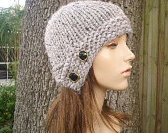 Grey Womens Hat - Grey Cloche Hat Tweed Grey Knit Hat - Grey Hat Grey Beanie Womens Accessories Winter Hat